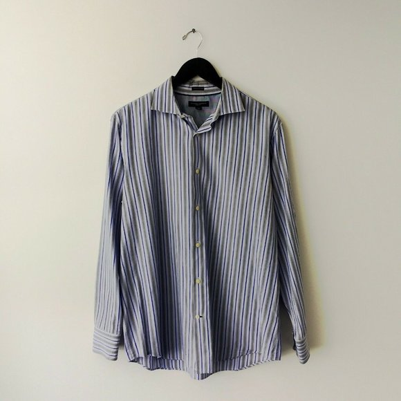 Banana Republic Shirt Slim Fit Striped Button Up L